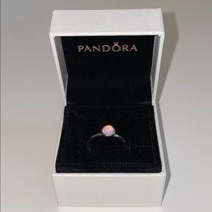 Pandora October Droplet Ring Pink Crystal